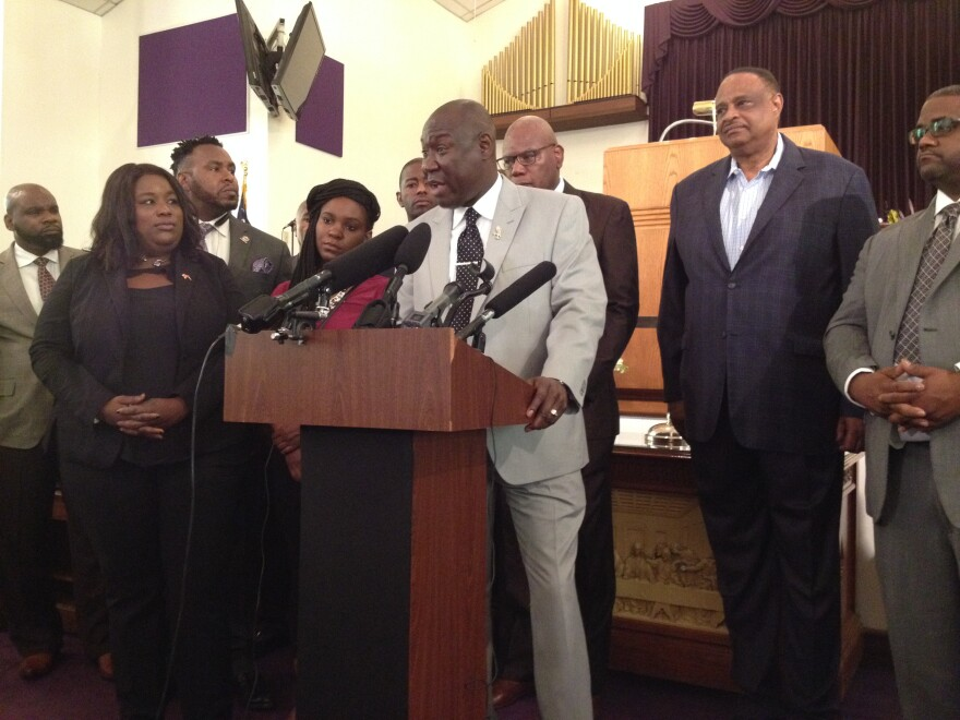 Tallahassee Attorney Ben Crump speaking during a news conference inside a Tallahassee church prior to marching to the capitol Wednesday.