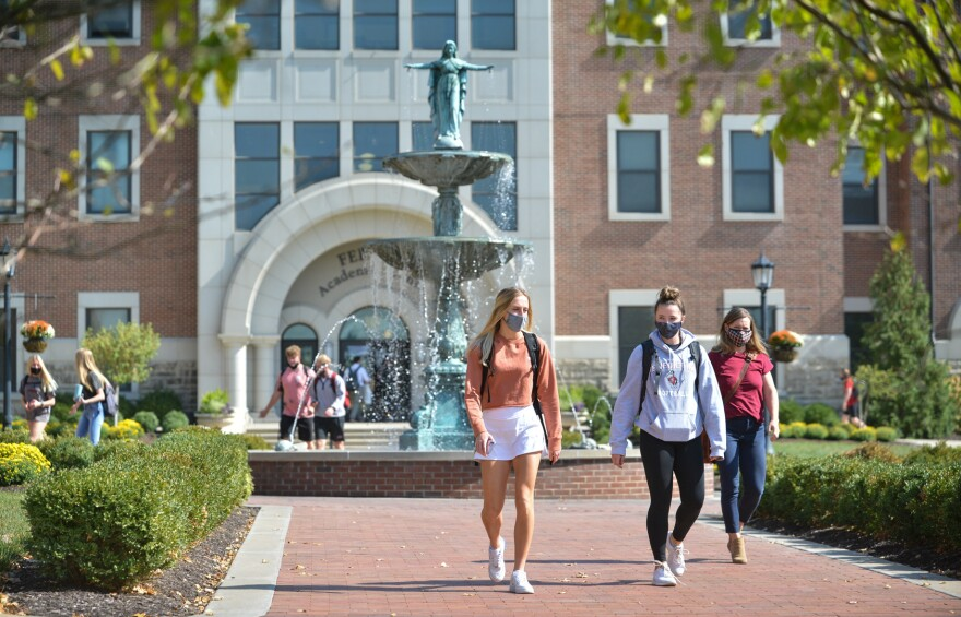 Students enjoy a warm fall day at Benedictine College