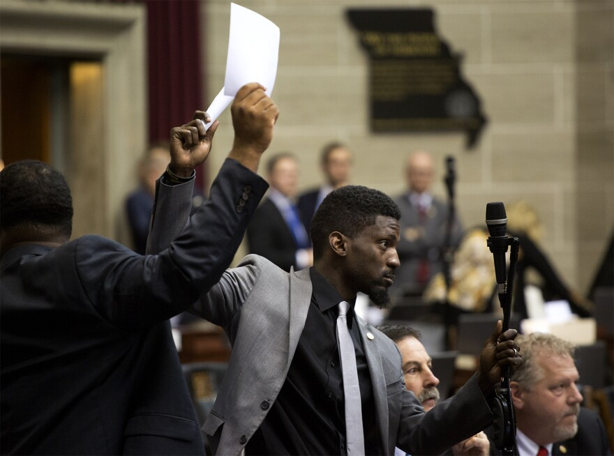 Rep. Bruce Franks tries to argue against a bill that will ban Missouri cities from raising the minimum wage.