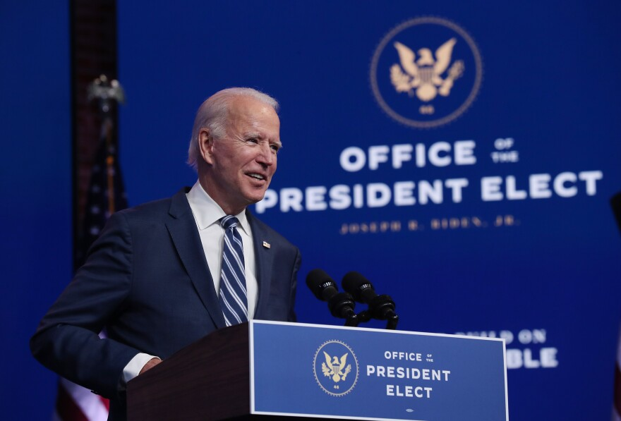 President-elect Joe Biden addresses the media Tuesday in Wilmington, Del., about the Trump administration's lawsuit to overturn the Affordable Care Act.