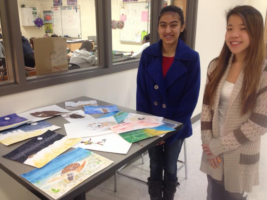 9th grade students, Maya Quales (right), and Pooja Shirahatti.