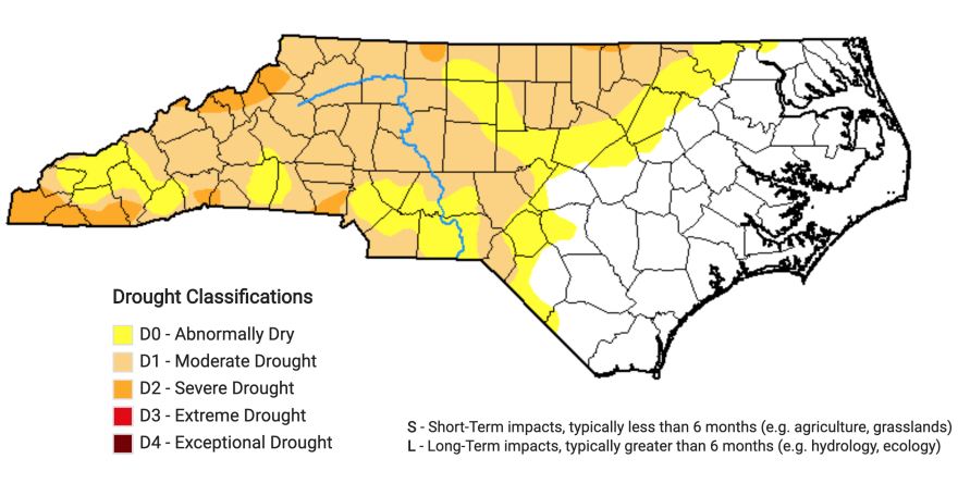 More than half of North Carolina's 100 counties are experiencing some level of drought conditions as of Oct. 3, 2019.