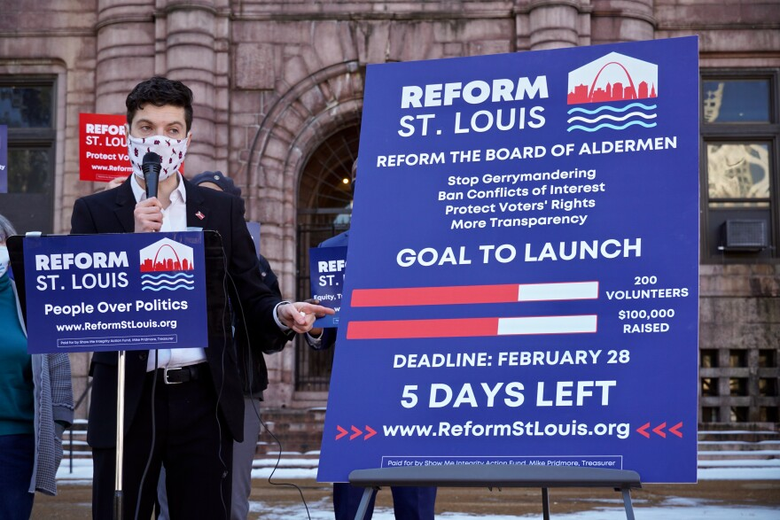 Show Me Integrity executive director Benjamin Singer explains the proposal to reform the St. Louis Board of Aldermen in front of City Hall on Feb. 23, 2021. But he still needs $45,000 and dozens more volunteers to launch the campaign.