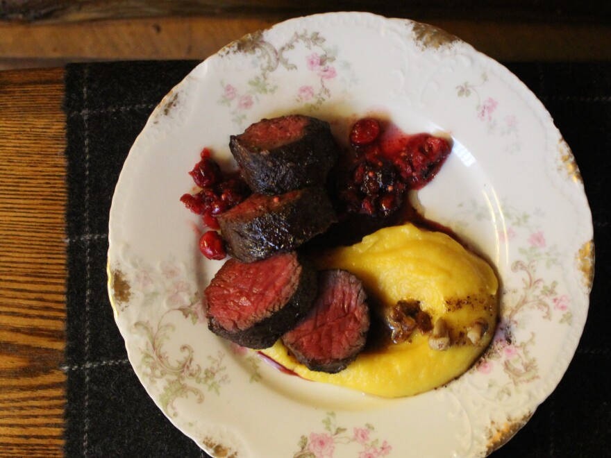 Food writer and chef Amy Thielen's idea of a delicious turkey alternative is venison with mostarda and whipped squash.