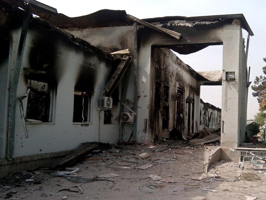 The damaged hospital in which the Doctors Without Borders medical charity operated is seen following a U.S. airstrike in the northern city of Kunduz.