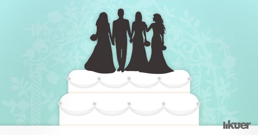 Illustration of three brides and one groom figurine on a wedding cake.
