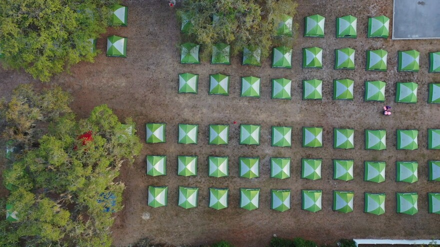 An aerial view of Hillsborough Hope the outdoor homeless shelter initiative to reduce the spread of coronavirus.