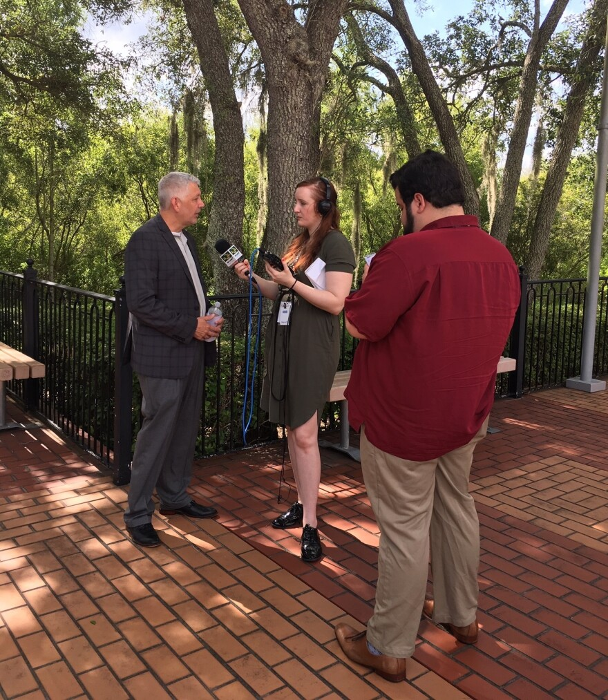 USF interns Carrie Pinkard and Adam Bakst during a June 2019 interview in Tampa. WUSF News is looking for interns for the Spring 2021 semester.