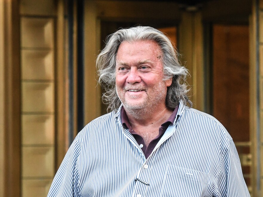 Former White House Chief Strategist Steve Bannon, shown here in August, had a Twitter account associated with him suspended after suggesting Dr. Anthony Fauci and FBI Director Christopher Wray should be beheaded.