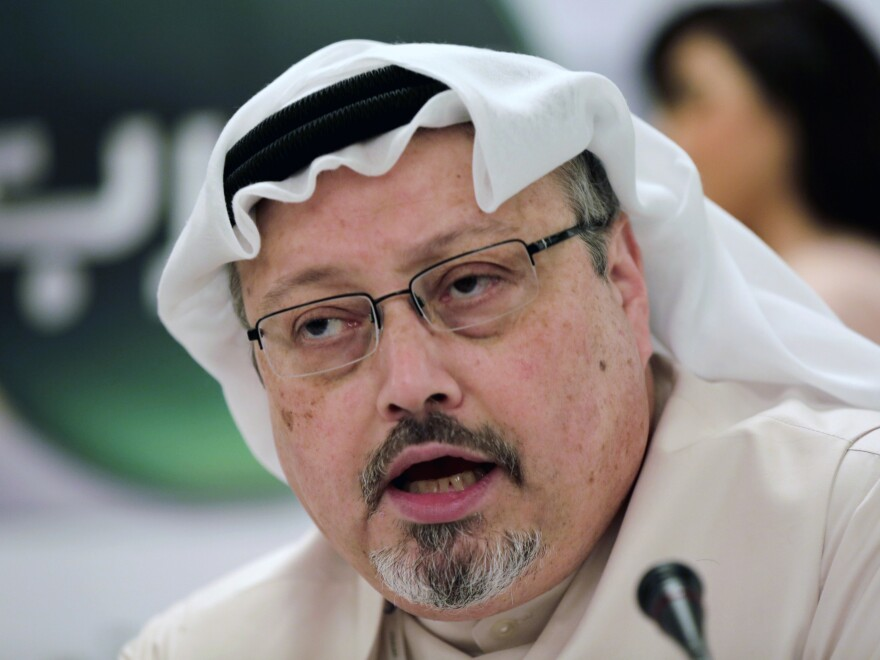 A federal judge says the government must prioritize the release of documents requested under the Freedom of Information Act about the killing of Saudi journalist Jamal Khashoggi, seen above in 2014. The U.S. resident was slain in the Saudi Consulate in Turkey last year.