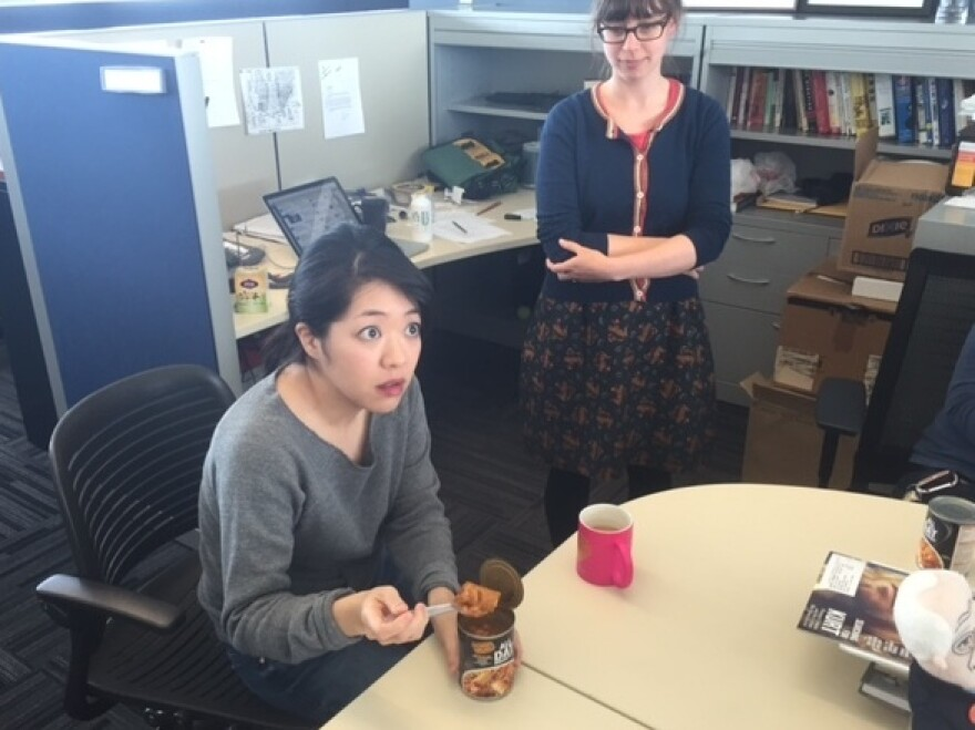 Ann is shocked by the mind-blowing flavor of egg nugget.
