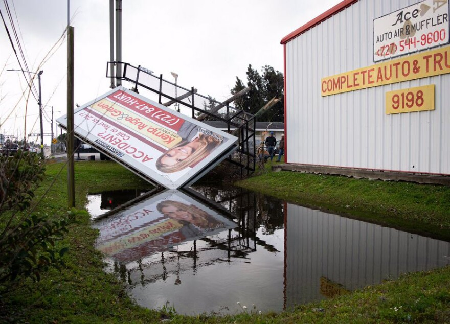 Billboard blown over