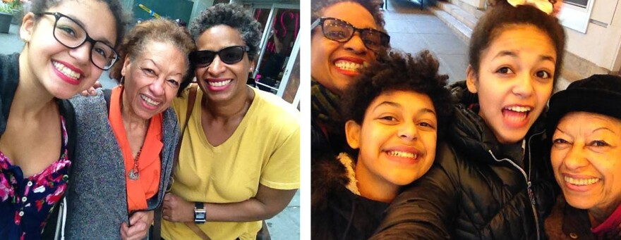 Left: Nola, Ramona and Yvonne Latty take a selfie before a Black Friday shopping trip. Right: Yvonne, Margo, Nola and Ramona Latty pose for a similar picture.