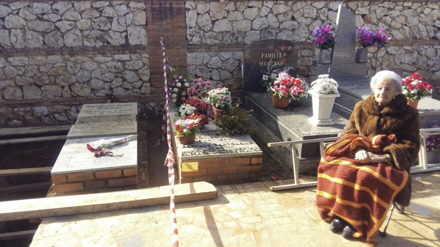 Ascensión Mendieta, 90, visits the mass grave where her father, Timoteo Mendieta, was buried in 1939. She saw him for the last time when she was 13. Two years ago, she became the plaintiff in a case to allow Spain's mass graves to be exhumed.