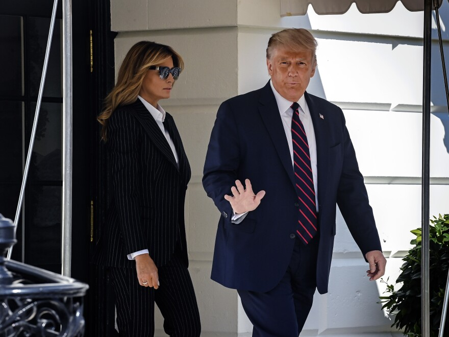 President Trump and First Lady Melania, depart the White House Tuesday for the first televised presidential debate. The president announced early Friday that he and the first lady have tested positive for the coronavirus.