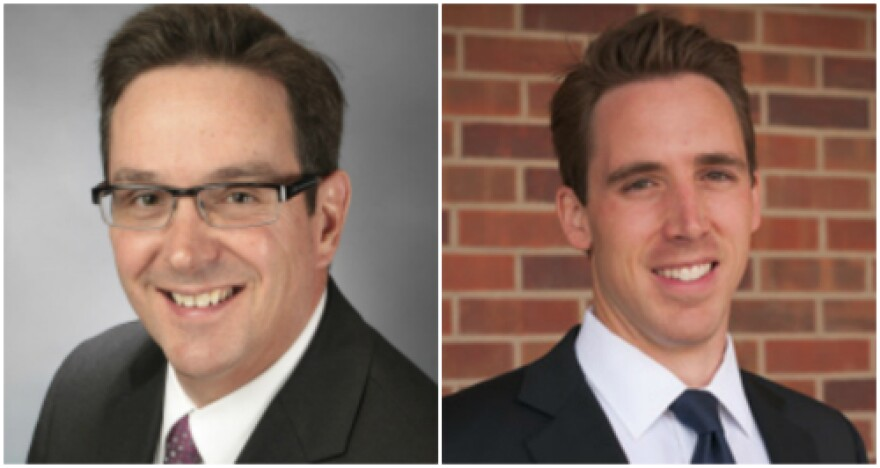 State Sen. Kurt Schaefer, left, and professor Josh Hawley came out swinging in their campaigns for the Republican nomination for attorney general.