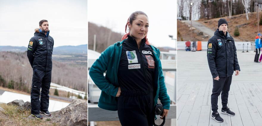 Matt Antoine (left) of Prairie du Chien, Wisc., won bronze in skeleton during the 2014 Winter Olympics in Sochi, Russia. Katie Uhlaender (center) of Breckenridge, Colo., is aiming for her fourth Olympics. John Daly from Smithtown, N.Y., has competed in skeleton in two Winter Olympics.