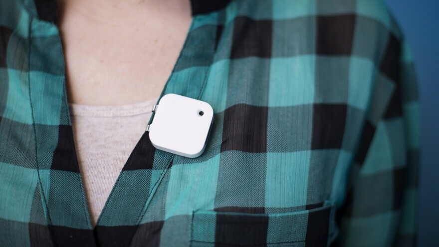 The Narrative clip is a lightweight wearable camera, capable of shooting 5-megapixel images. You clip it to your lapel and it shoots two photos a minute.