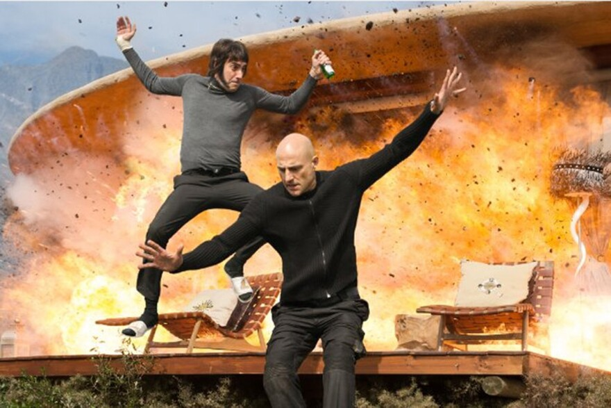 "Sacha Baron Cohen and Mark Strong in the upcoming action comedy film, ""The Brothers Grimsby."" (Courtesy Sony Pictures)"