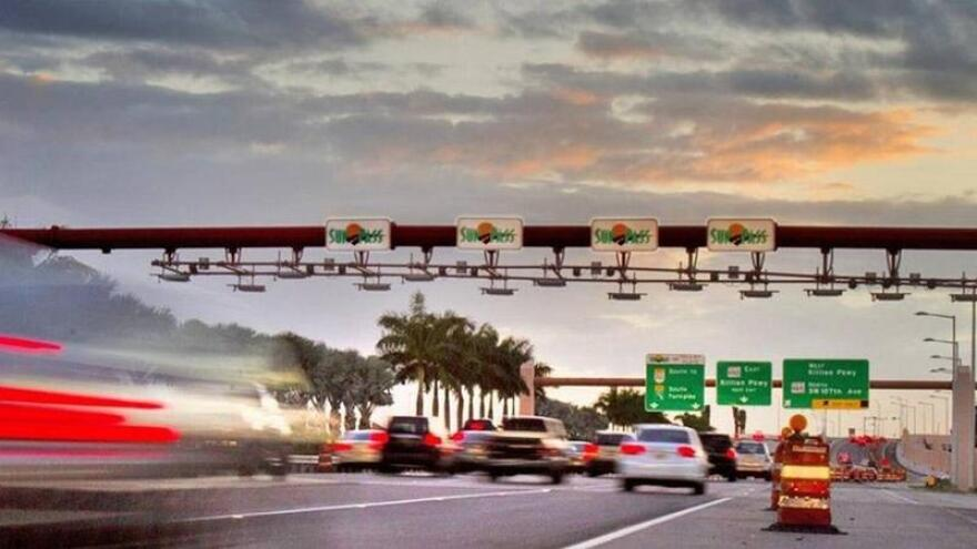 The SunPass/Toll-by-Plate area near Killian Parkway near the Turnpike extension.