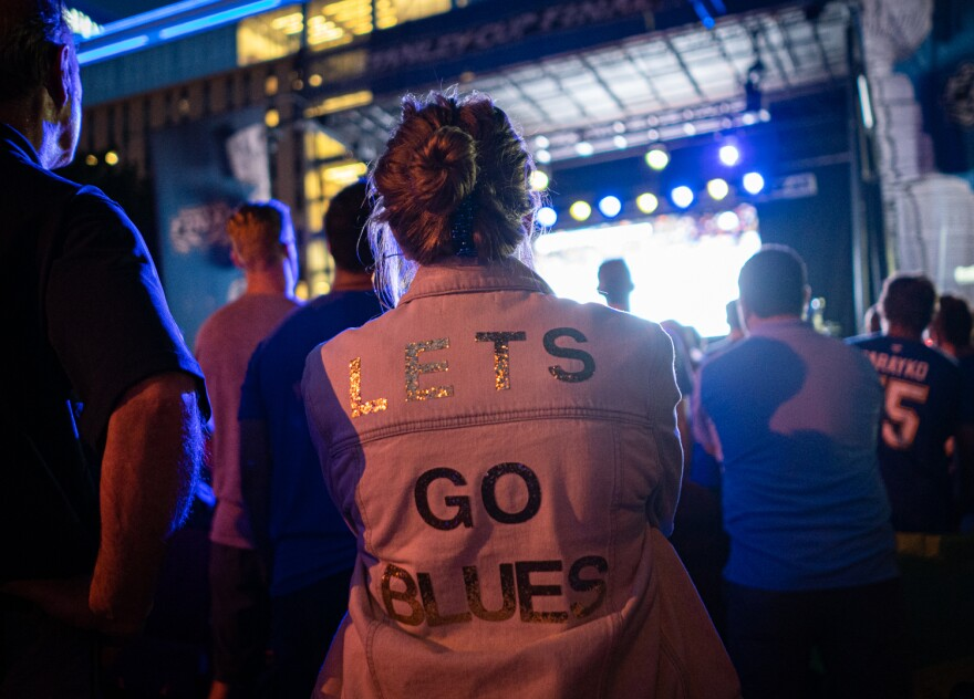 """Katie Leonoudakis, 28, of Kirkwood, made this """"Let's Go Blues"""" jacket during the second round of the playoffs."""