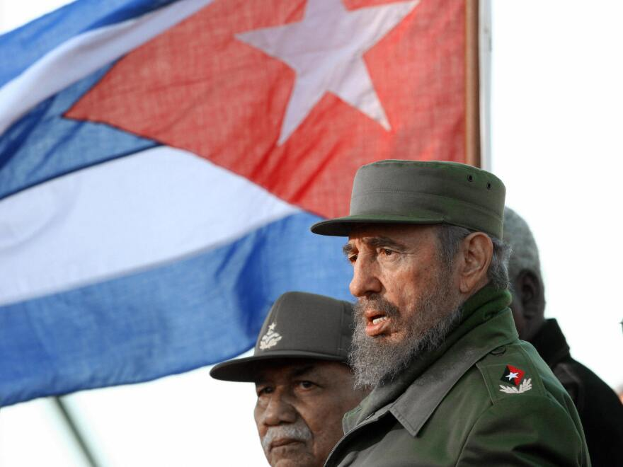 Castro takes part in a public rally in honor of the Cuban nationals killed in terrorist attacks on Feb. 6, 2006. Castro resigned on Feb. 19, 2008, as president and commander in chief of Cuba.