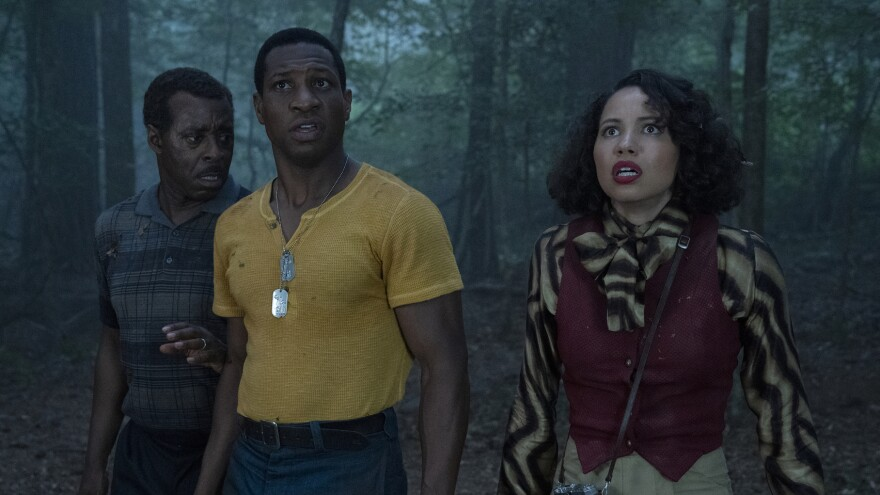 Uncle George (Courtney B. Vance), Atticus (Jonathan Majors) and Letitia (Jurnee Smollett) in <em>Lovecraft Country </em>on HBO