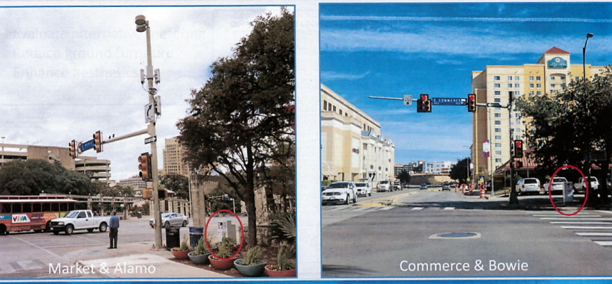 Small-cell nodes mounted on city-owned traffic signals in San Antonio. Small-cell can be used for 4G or 5G. San Antonio has worked to eliminate cabinets like the ones pictured by incorporating them into recycling bins and other infrastructure