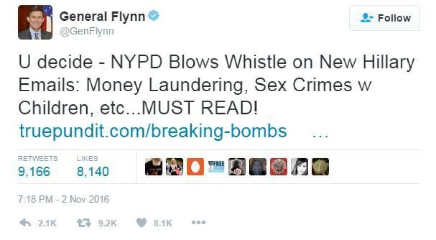 The Nov. 2 tweet by Gen. Michael Flynn, whom President-elect Donald Trump chose to serve as national security adviser in the new administration.