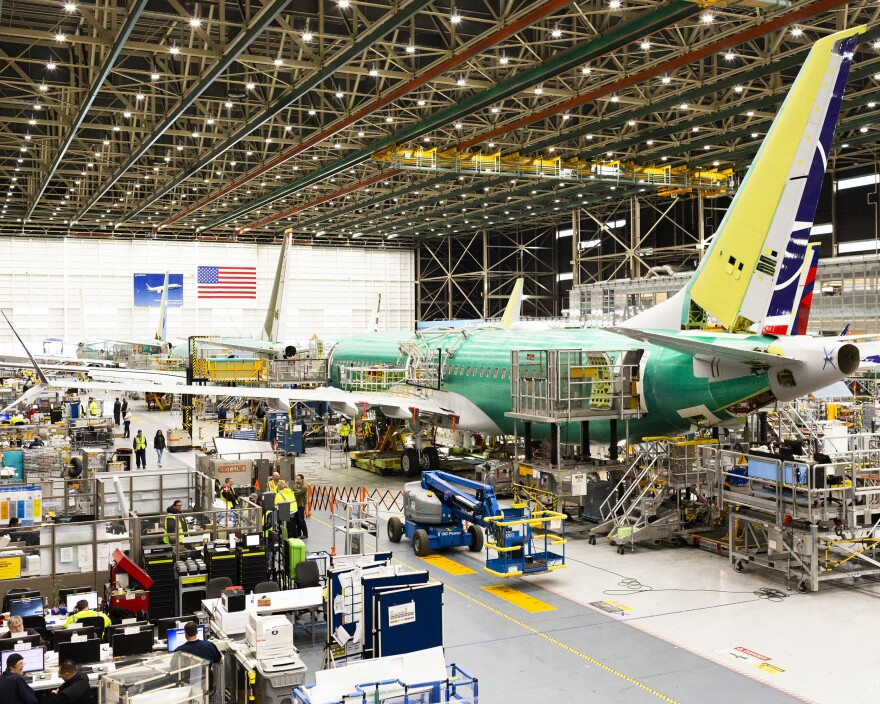 Boeing continues making the planes at its 737 Max assembly plant in suburban Renton, Wash.