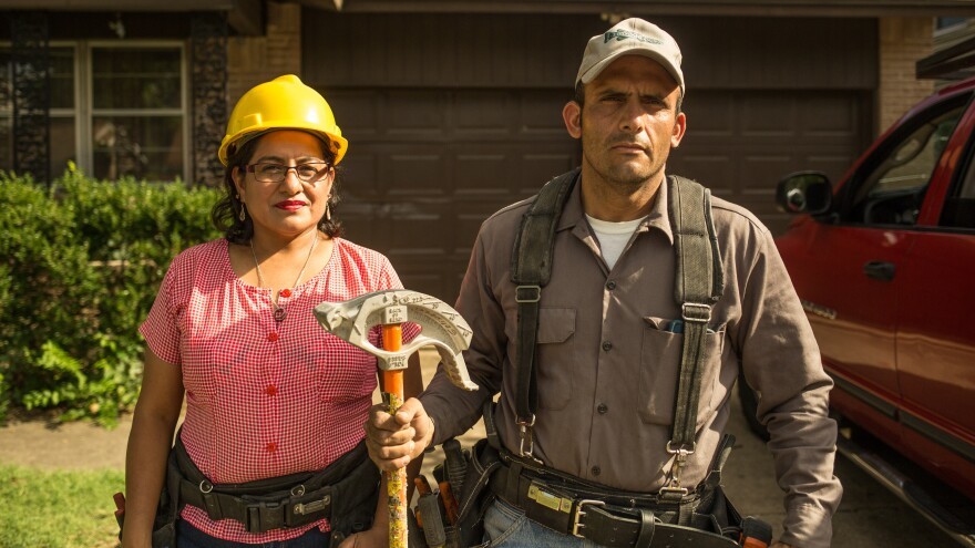 """Claudia and Alex came to the U.S. from El Salvador to flee violence and provide a safe environment for their children. (Promotional photo for """"Building the American Dream"""")"""