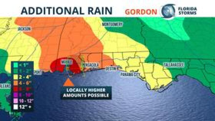 Additional rainfall amounts of 4 to 6 inches are possible from Tropical Storm Gordon near Pensacola. Storm totals of up to 8 inches are possible in some isolated spots.