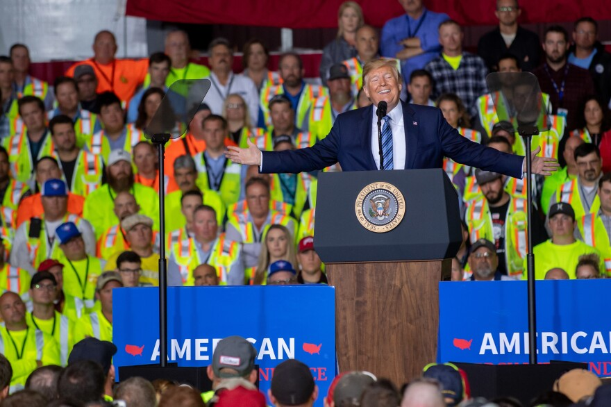 President Trump speaks to about 5,000 contractors at the Shell Chemicals Petrochemical Complex on Tuesday in Monaca, Pa.