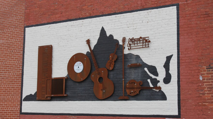 A mural asserts local music pride in Bristol, Va., one of the stops along The Crooked Road — a trail that connects music venues through the mountains of the state.