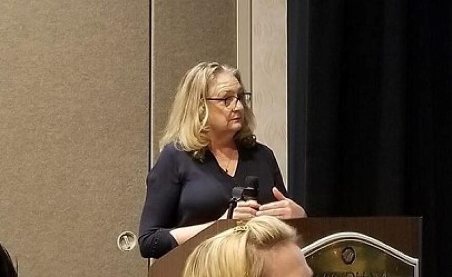 First Amendment Foundation President Barbara Petersen addresses  gathering of Florida Associated Press broadcasters in Orlando.