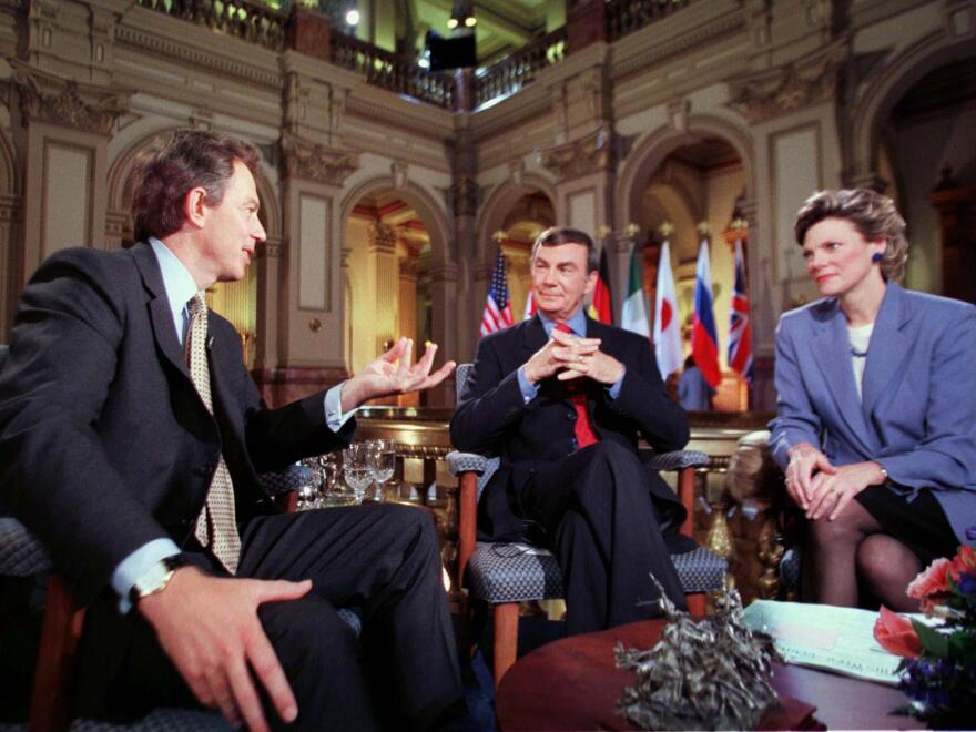 British Prime Minister Tony Blair, left, answers questions from ABC's Sam Donaldson and Cokie Roberts in Denver.