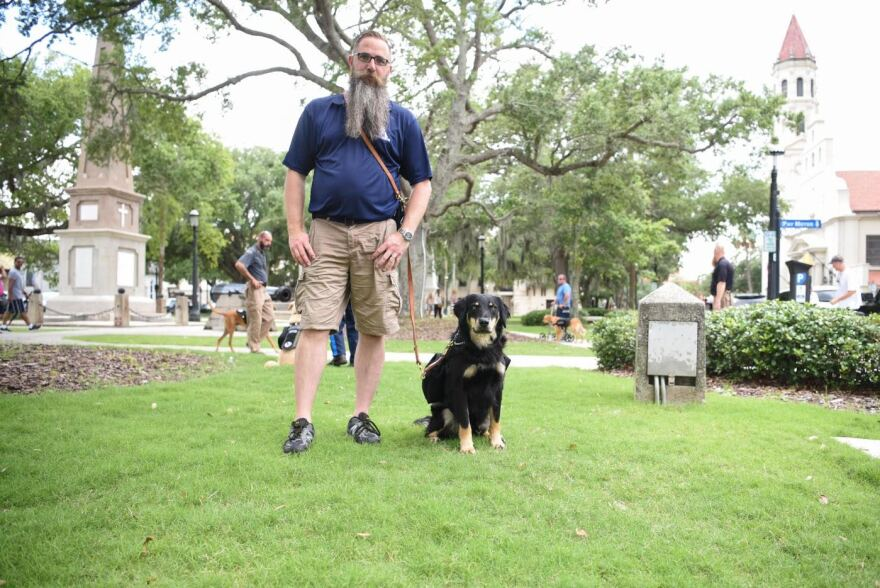 Man in t-shirt and shorts stands on a long strip of green land in the middle of a city. Beside him is a dog.