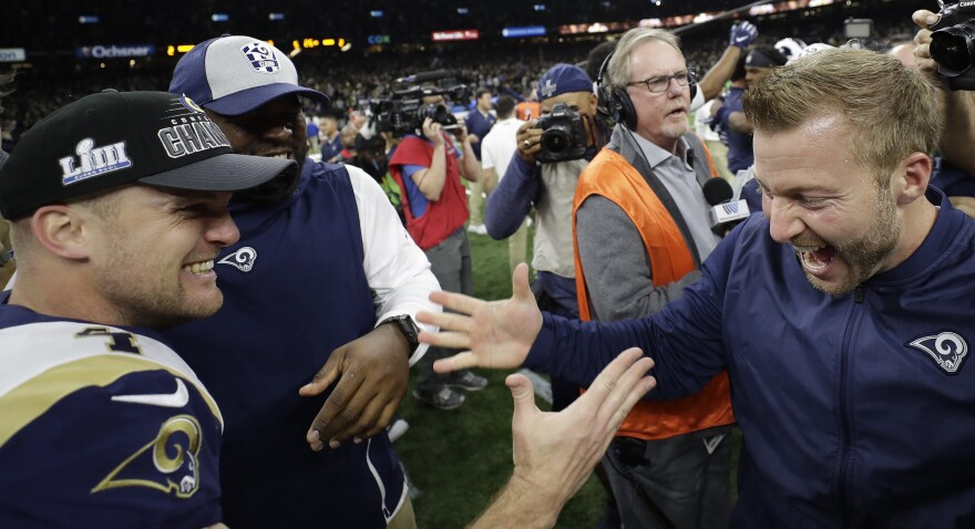 Los Angeles Rams head coach Sean McVay celebrates with Greg Zuerlein after a game-winning field goal during overtime of the NFL's NFC championship game against the New Orleans Saints on Sunday.
