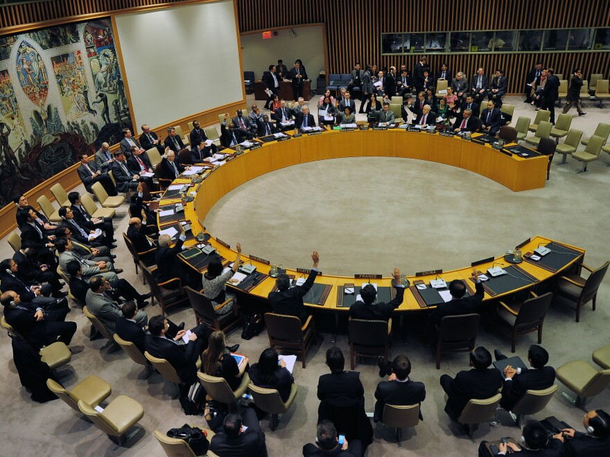 U.N. Security Council members vote to adopt sanctions against North Korea on Thursday.