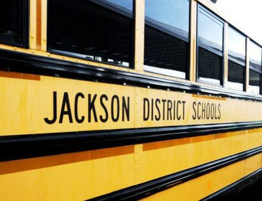 School bus with Jackson County Schools written on the side