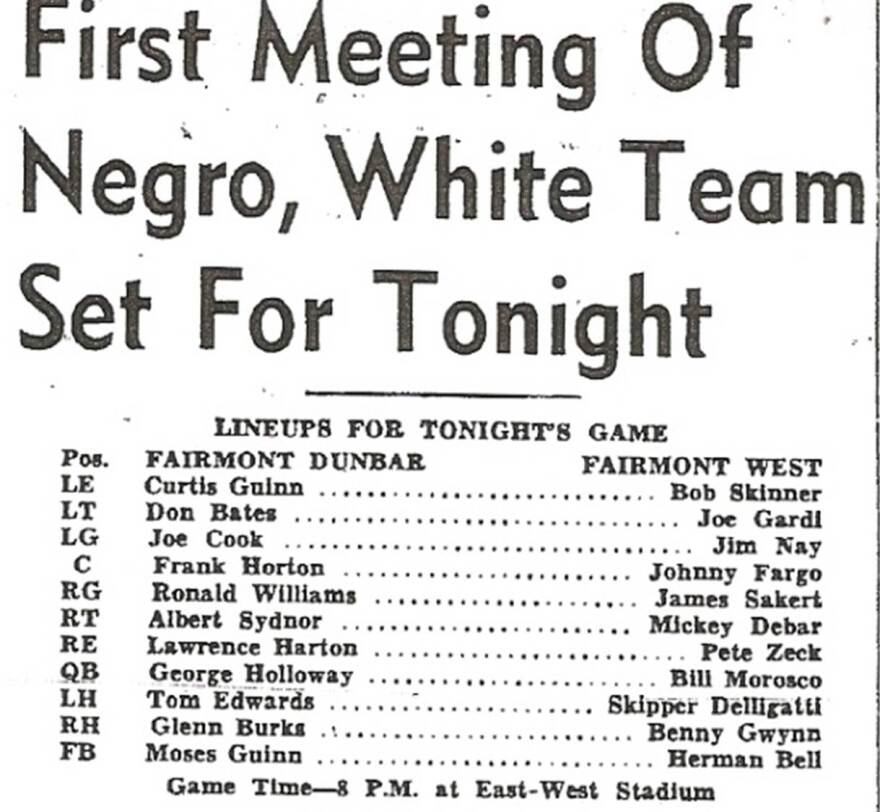 Team Rosters - First Meeting of Negro, White Team Set For Tonight
