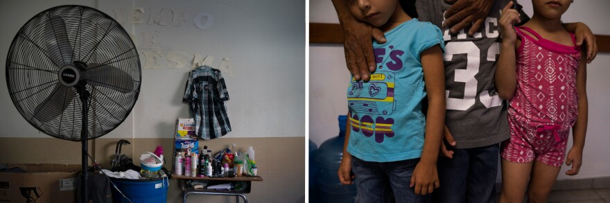 Left: Belongings of asylum-seekers sit on a desk in a church shelter in Ciudad Juárez. Right: Giovanni, 44, his son, Jonathan, 8, and his twin daughters, Catherine and Carla, were sent back from the U.S. to Mexico under the program known as Remain in Mexico to await their immigration court dates.