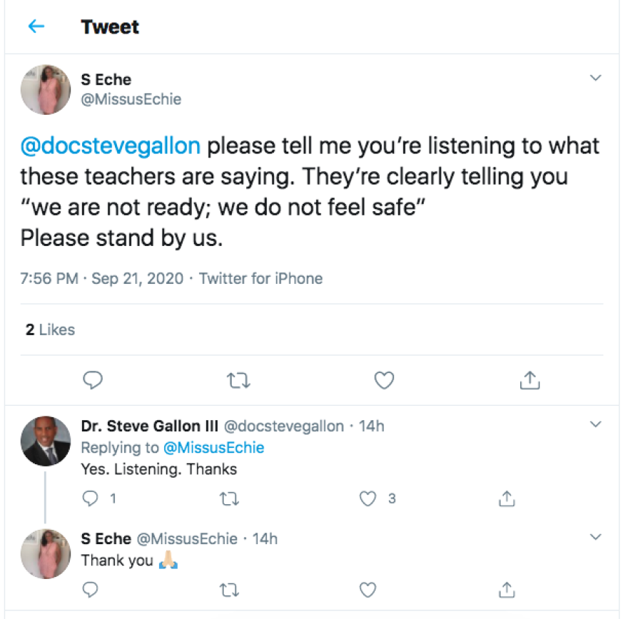 Tweet at Steve Gallon about listening.png