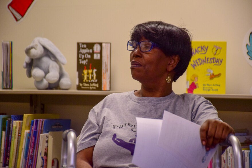 Debra Myles at Parents United for Change meeting on March 14, 2018.