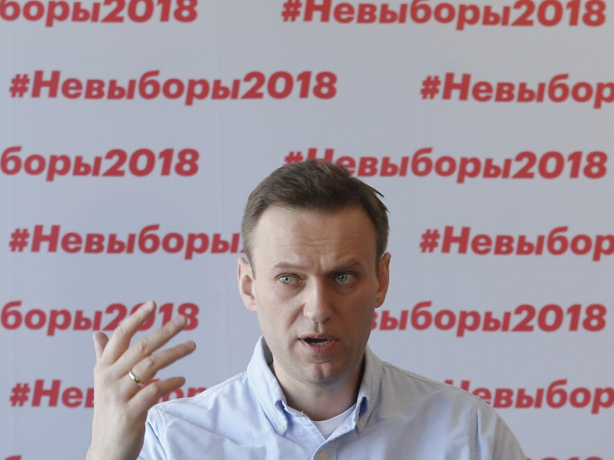 Russian opposition leader Alexei Navalny holds a briefing on the presidential election at his office in Moscow on Sunday.