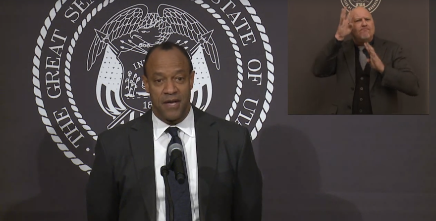 Screenshot from a virtual press conference