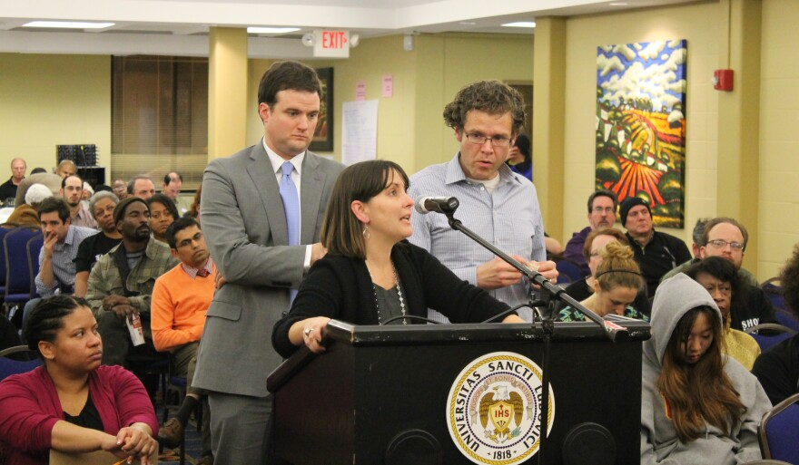 Better Together's Dave Leipholtz, Washington University law school professor Mae Quinn and Thomas Harvey of the Arch City Defenders speak at Monday's Ferguson Commission meeting.