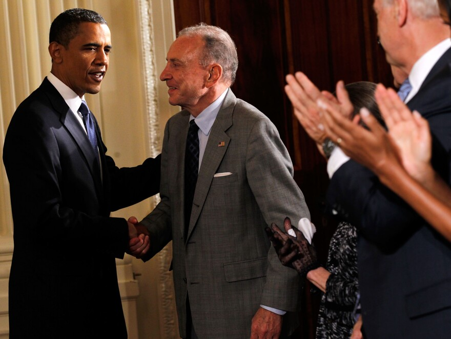 President Obama greets Sen. Arlen Specter at a reception in honor of Jewish American Heritage Month. After 44 years as a Republican, Specter switched parties in 2009.