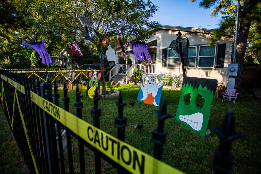 A house is decorated for Halloween in the Montopolis neighborhood of Southeast Austin.