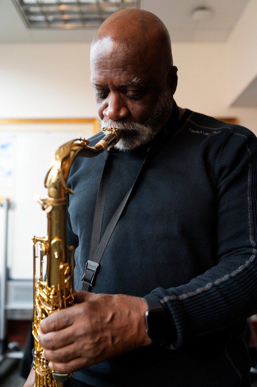 Hank Bolden plays his saxophone at The Hartt School. For decades, he wasn't allowed to talk about being an atomic veteran.